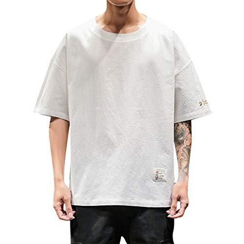 SSYongxia ♪ Men's Summer Fashion Solid Color Short SleeveComfortable Pocket Blouse Top White
