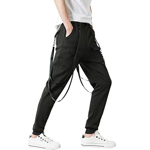 Price comparison product image Mens Jogger Pants with Pockets Zipper Ankle Elastic Waist Athletic Gym Workout Bib Sweatpants (XL,  Black)