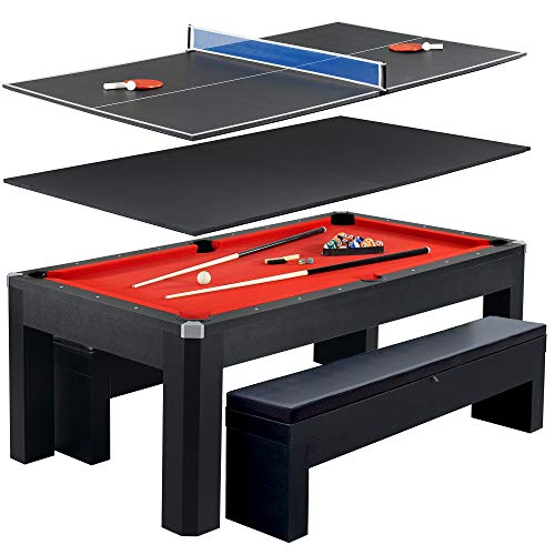 Hathaway Park Avenue 7' Pool Table Tennis Combination with Dining Top, Two Storage Benches, Free Accessories ()