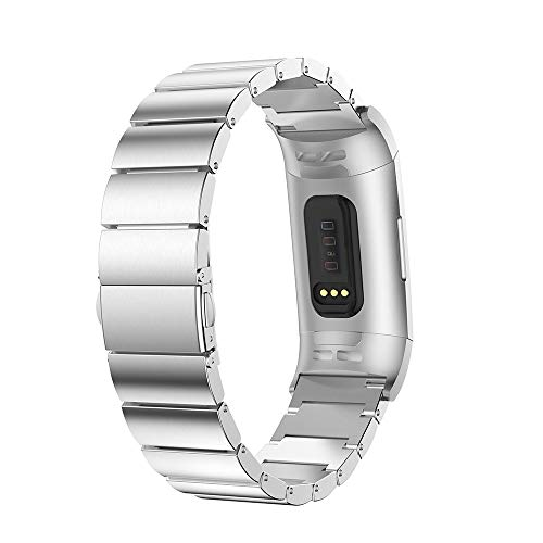 Price comparison product image Clearance Band for Fitbit Charge 3, Stainless Steel Loop Replacement Strap Wrist Bands with Adjustable HR Smart Fitness Tracker (Silver)