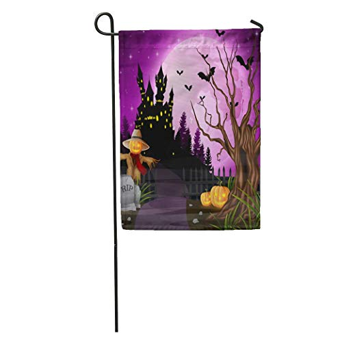 Nick Thoreaufhed Garden Flag Purple Autumn Halloween Scarecrow and Pumpkins Bat Cartoon Castle Celebration Home Yard House Decor Barnner Outdoor Stand 12x18 Inches Flag ()