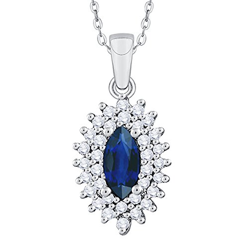 KATARINA Diamond and Marquise Cut Sapphire Fashion Pendant Necklace in Sterling Silver (1/3 cttw, G-H, I2-I3)