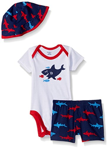 Gerber Baby Boys Bodysuit, Short and Bucket Hat, Shark, 6-9 Months