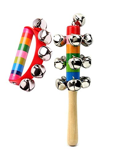 2 PCS Baby Kids Rainbow Wooden Handle Bell Jingle Stick Shaker Rattle Toys Child Early Musical Instrument Educational Toy Tool