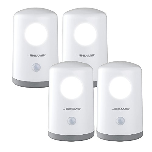 Mr. Beams MB750 Wireless Battery-Operated, Portable, Motion-Sensing 20 Lumen LED Nightlight, White, 4-Pack (Closet Ideas Foyer)