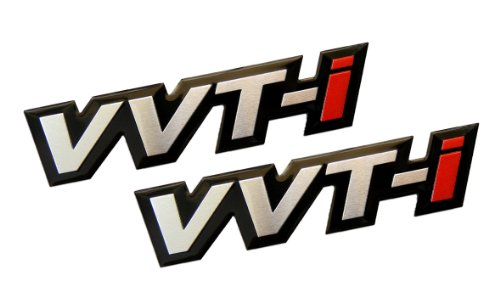 2 x (Pair / Set) VVT-I Variable Valve Timing with intelligence Real Aluminum Engine Hood Emblem Badge Nameplate JDM for Toyota Corolla E12 Celica Supra GT-S MR2 Spyder Yaris Camry ()