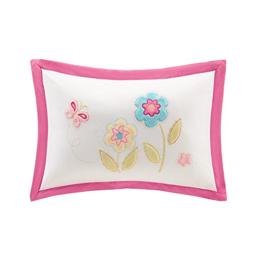 Floral Oblong Decorative Pillow (Mi Zone kids - Spring Bloom Plush Floral Applique and Embroidred - Pink Oblong Pillow - 14x20 - Includes 1 Decorative Pillow)
