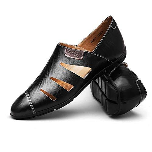 a fatte EU mano morbidi Scava da fuori in Colore Dimensione sandali Nero Qiusa uomo suola Scarpe Blu 39 pelle i traspirante 1w5xqnEF