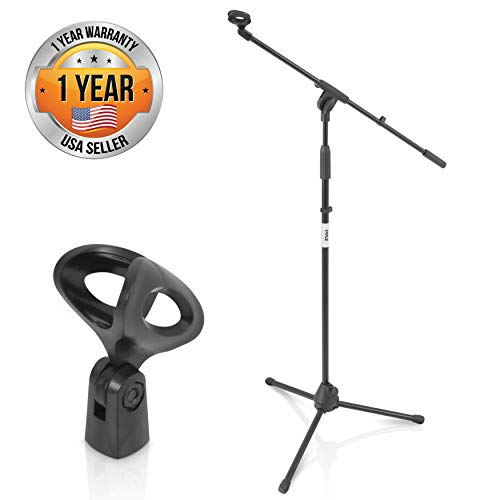 Pyle Foldable Tripod Microphone Stand - Universal Mic Mount and Height Adjustable from 37.5'' to 65.0'' Inch High w/ Extending Telescoping Boom Arm Up to 28.0'' - Knob Tension Lock Mechanism PMKS3