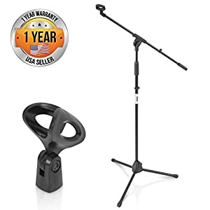 "Pyle Foldable Tripod Microphone Stand – Universal Mic Mount and Height Adjustable from 37.5"" to 65.0"" Inch High w…"