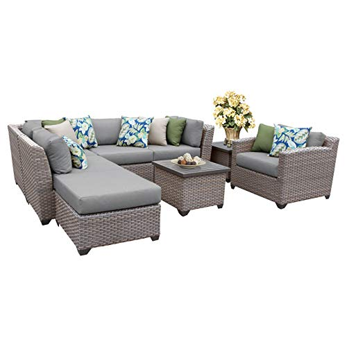 TK Classics FLORENCE-08g 8 Piece Outdoor Wicker Patio Furniture Set