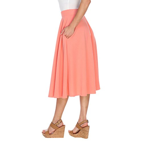 White Mark Women's Tasmin Flare Midi Skirt XL Coral from White Mark