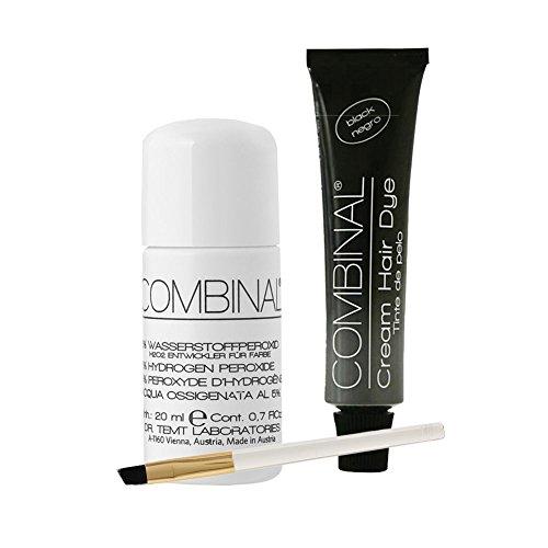 Combinal Cream Hair Dye (Black) .5 oz with Brush & 5% Hydrogen Peroxide .7 oz