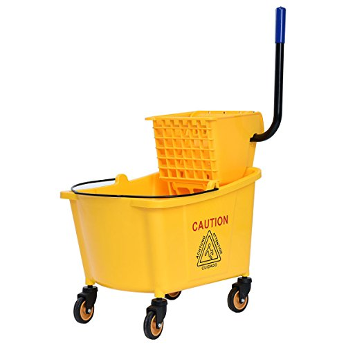 Commercial Grade Caster (Goplus Side Press Wringer Mop Bucket, Mop Bucket Wringer Combo, 31 Quart Capacity, Yellow)