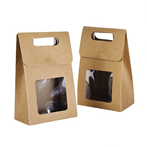 TTOYOUU Paper Cookies/Candy/Cake/Coffee/Tea/Nuts Bags, 24pcs Paper Food Cookies/Candy/Cake/Coffee/Tea/Nuts Stand up Square Box Bags with Clear Window(Cofffee)