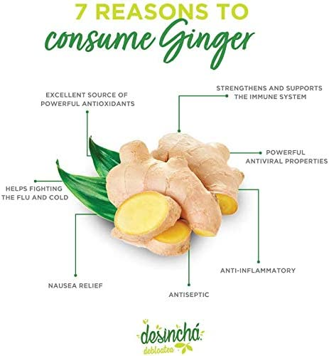 Desincha Tea - Debloatea I Ginger & Peppermint I May Increase Energy, Supports Mental Focus & Metabolic Health I Helps Improve Digestion & May Reduce Bloating I 8 Natural Ingredients