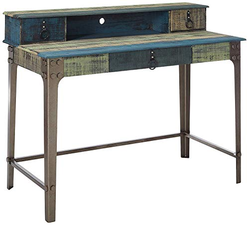 Powell Furniture Calypso Desk, Wood with Multi Color Accents, (Vintage Writing Desk)