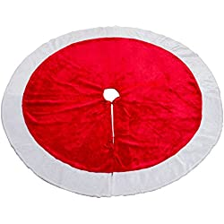 MrXLWhome Christmas Tree Skirt 48 inch Round, Large Red Velvet Holiday christmas tree Decorations Skirts