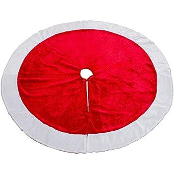 MrXLWhome Christmas Tree Skirt 48 Inch Round Large Red Velvet Holiday Decorations Skirts
