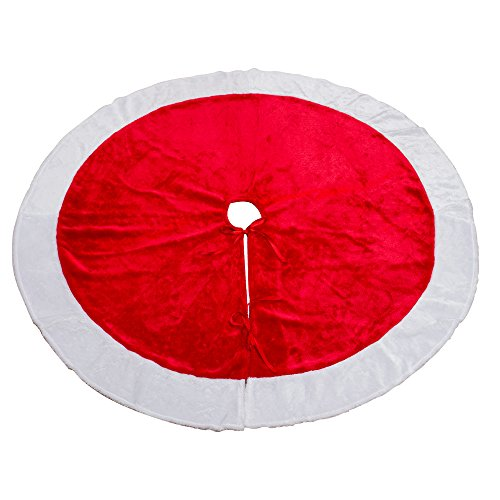 MrXLWhome Christmas Tree Skirt 48 inch Round , Large Red Velvet Holiday tree Decorations Skirts