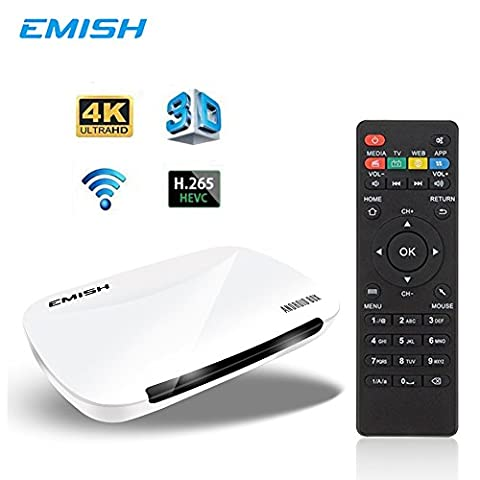 EMISH X700 Android TV Box 6.0, 4K 3D Smart TV Moving Box,1080P Media Blue-Ray Player, Rockchip 3229 Quad Core EMMC 8GB, Built-in Wifi, Game Player for TV, - Dvr Recorder Software