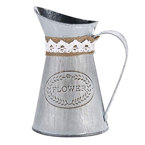 - Ivosmart Vintage Antique Style Metal Jug Flower Vase Primitive Pitcher for Home Decoration