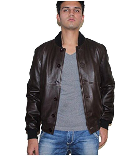 Genuine Leather Jacket for Men, Brown, X-Large (Brown Cowhide Nappa Leather)