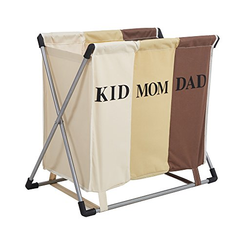 Livebest Folding Laundry Basket Sorter with Iron X-Frame,Laundry Hamper Clothes Storager with Compartment Bags