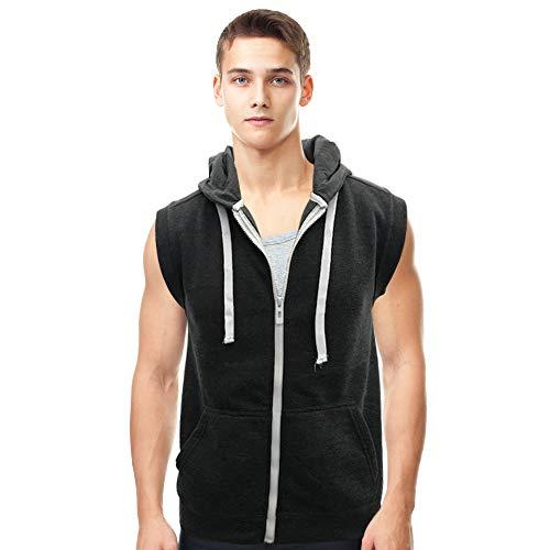 (Lada Men's Hooded Vest Sleeveless Lightweight Zip-up Gym Workout Tank Tops-(Heather Black, Large))