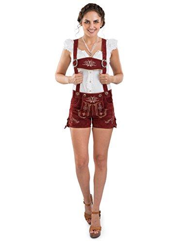 Women's Original Lederhosen - German Oktoberfest Costumes - Bavarian Hotpants Red Bergrose (12) -
