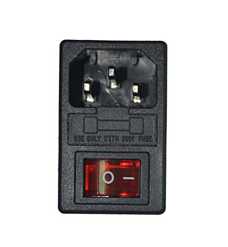 Power Entry Module Ac (HONGYETAJA Inlet Male Power Socket with Fuse Switch 10A 250V 3 Pin IEC320 C14)