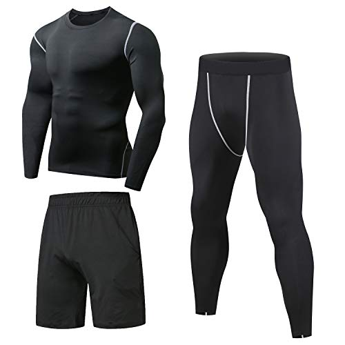 8aedc8d0c6c7 Niksa 3 Pcs Mens Fitness Gym Clothing Set,Sports Wear Exercise Clothes Men  Activewear,Base Layers Shirts+Loose Fitting Shorts+Compression Pants for  Workout ...