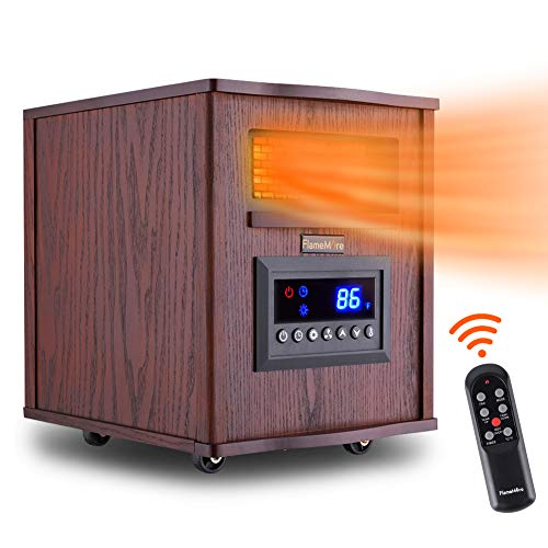 FLAMEMORE 1 CH-3003 Portable Electric Space Remote Control 1500W 6-Element Infrared Heater 12H Timer with Tip-Over & Overheating Shut-Off Quiet for Indoor Use, 12.4in X 15.4in X15.7in, Wood