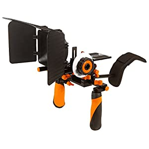 Pro Steady DSLR Complete Movie Rig with Shoulder Mount and Follow Focus System and a Matte Box Shading Card for All DSLR Cameras & Video Camcorders (Orange)