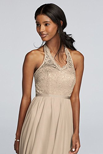 Style Bodice Gold Halter F19025M Bridesmaid Lace Metallic Long Dress qOEfwRXFnx