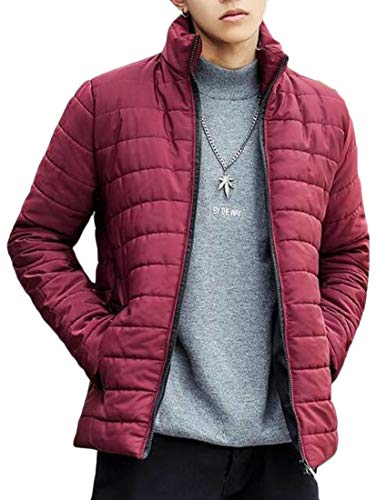 Collar Lightweight Sleeve Jacket Stand Down Red Long Wine EKU Men's Plus Size IRqCnZpw