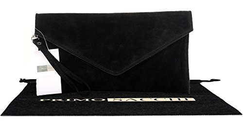 Black Suede Leather Clutch - 4