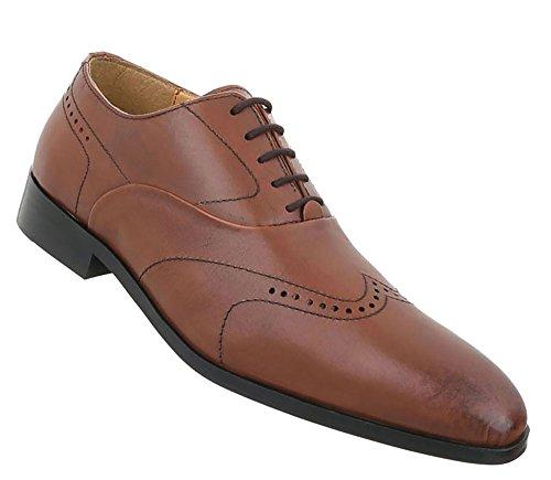 Herren Schuhe Businessschuhe Used Optik Leder Schnürer Camel