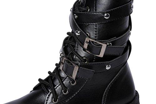 Botas tobillo Martin con mujer de gamuza Botas Zapatos cordones cuero Manadlian de Negro Botas de rwxqH4Tr
