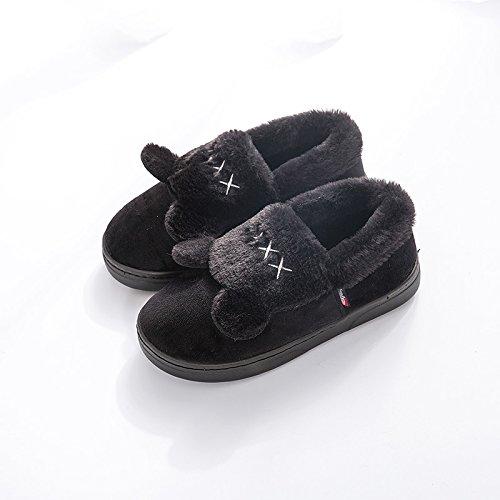 LaxBa L'hiver au chaud, l'hiver Chaussons Chaussons moelleux Accueil chaleureux en hiver, chaussures antiglisse noir Bottines36-37 [35-36] L'usure pour pieds
