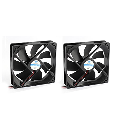 Uxcell 2pcs 12V 2-Wired Black Plastic 7 Fans DC Brushless Axial Cooling Fan Heat Sink Cooler, 12 x 2.5 cm by uxcell
