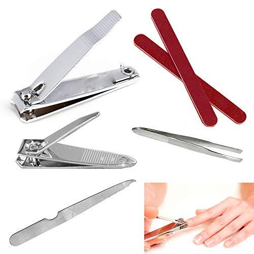 Atb Trim - 7Pc Nail Clipper Cutter Trim Set Pedicure Manicure Tool Kit Straight Curved Edge