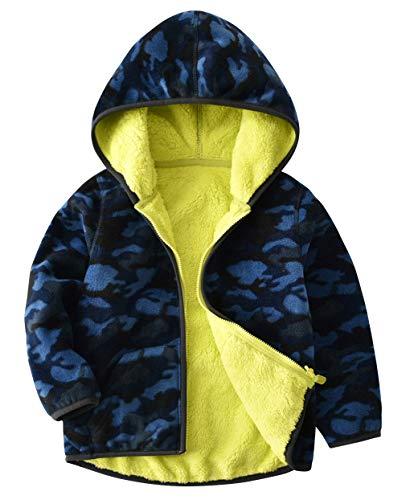 (La Vogue Toddler Baby Fall Winter Hooded Cardigan Jacket Reversible Printed Fleece Coat Zip Up Yellow)