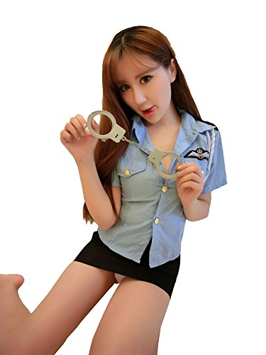 [Yinglite Women Uniform Sexy Lingerie Stewardess air hostess flight attendant Policewomen Sheriff Officer Anita Bribe nurse Doctor Teacher Schoolgirl secretary maid Kimono Cheongsam Roles Cosplay Masquerade Lace Costume Set] (Sheriff Costume Women)