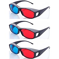 HRINKAR Model Anaglyph 3D Glasses Red and Cyan Glass for Mobile Phone, Computer, Laptop, TV, Projector and Magazines -3 Pieces