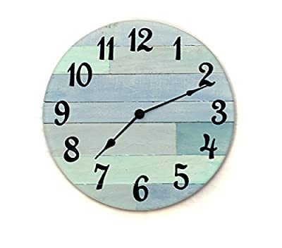 "Rustic Beach Wall Clock - 16"" diameter with Arabic numbers - handmade beach wall clock, nautical theme clock, beach house clock, beach house decor, coastal cottage"