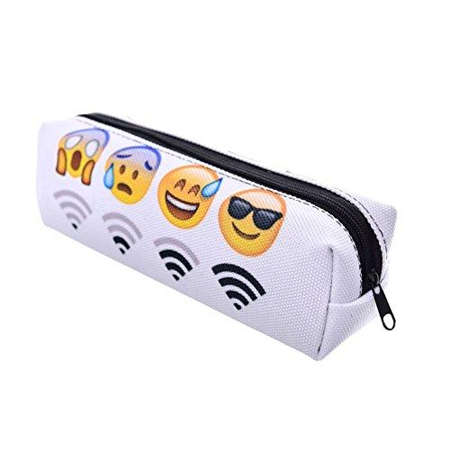 Amazon.com : Cute Emoji Canvas Pencil Case Pen Bag ...