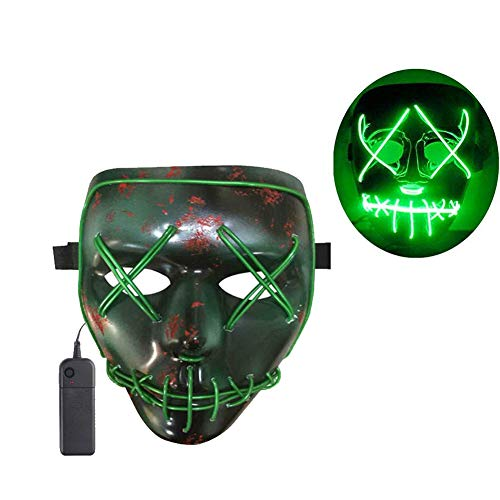 SunZing Halloween Mask LED Light up Mask for Festival Cosplay Halloween Parties (Green)