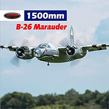 DYNAM RC Airplane B-26 Marauder Silver 1500mm Wingspan - PNP