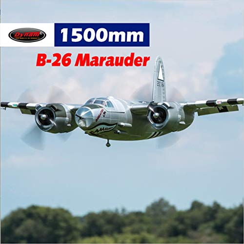 DYNAM RC Airplane B-26 Marauder Silver 1500mm Wingspan - PNP ()